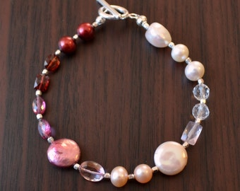 Valentine Jewelry, Beaded Bracelet, Gemstone and Freshwater Pearl, Red and Pink, Garnet, Rose Quartz, Sterling Silver - Free Shipping
