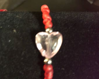 Pink and red heart bracelet