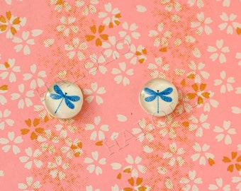 Sale - 10pcs handmade blue dragonfly clear glass dome cabochons 12mm (12-0572)