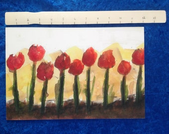 Row of Tulips Giclee Print