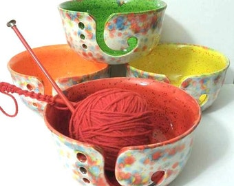 Fun-Fetti Wide Mouth Yarn Bowl Ceramic Gift for Knitters handmade in my Charleston, SC studio