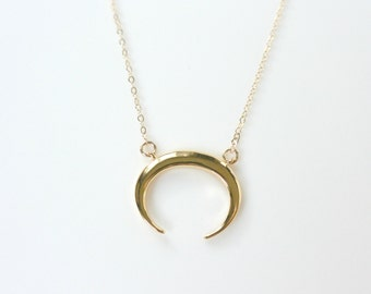 Gold Double Horn Necklace, Tusk Necklace, Crescent Moon Necklace, Layering Necklace, Gold Jewelry, Gifts for Her, Moon Necklace