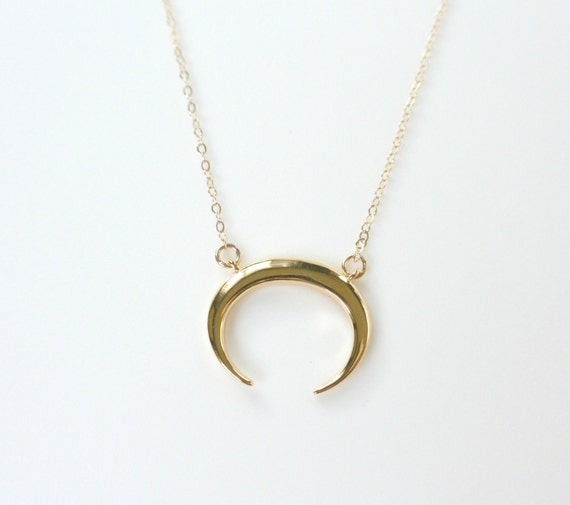 Crescent Horn Necklace: Gold Double Horn Necklace Tusk Necklace Crescent Moon