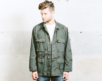 Military Camo Jacket . Men's Grey Camouflage Parka Reworked Vintage 90s Army Style Long Jacket Hunting Canvas Outerwear . size Extra Large