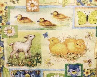 "3 Decoupage Napkin - Springtime Collage Easter Chicks Ducks Lamb 13"" x 13"""