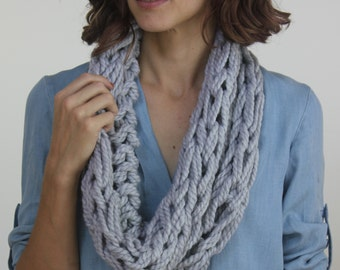 Large Cowl Scarf / Pewter / Arm Knitted