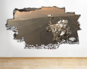 A286 Mars Rover Curiosity Moon Space Planets Wall Decal Poster 3D Art Stickers[Large (92x52)]