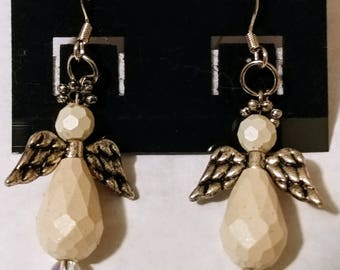 Large white angel earrings