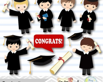 Graduation Boys Clipart, Boys Graduate DIgital Clip Art, Graduation Boy, Preschool kindergarten graduation Clipart, Graduate, Grad 00203