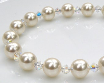 White Pearl Bracelet, Clear Swarovski Crystal, Classic Bridesmaid Bracelet, Bride White Wedding Jewelry, June Birthstone, Birthday Gift
