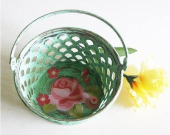 Basket, Green, Pink Rose, Decorative Dish, Rustic Cottage, Distressed, Hand Painted, Decoupaged, Jewelry, Watch Holder, Shabby READY TO SHIP