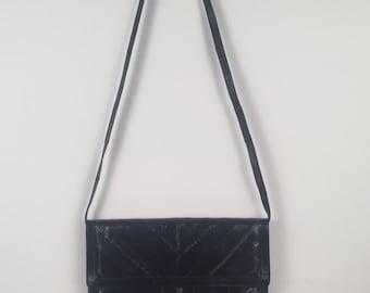Vintage Midnight Blue Eel Skin Leather Convertible Shoulder Bag Clutch