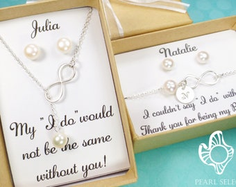 bridesmaid gift, infinity necklace, pearl necklace, bridesmaids necklace, infinity bracelet, bridesmaid bracelet, wedding jewelry