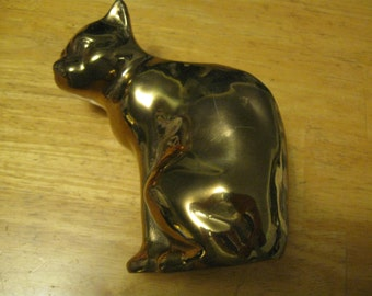 """Brass Cat Vintage Brass Cat 5 1/2 tall by 4"""" wide Cat Decor free shipping in the u s a"""