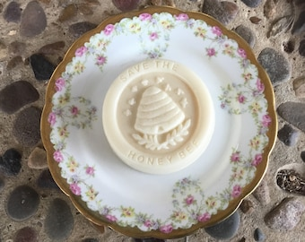 Save the Bee Soap Gift.  Goat Milk and Honey Bee Soap on Antique Plate.  Soap with Antique Dish. Soap on China.  Soap with China.