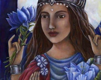 Goddess Lakshmi Painting - Hindu Goddess - goddess of prosperity - wall art decor - hindu art - Indian art - Goddess Art - spiritual art