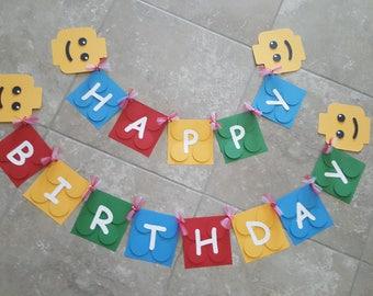 Lego Happy Birthday Banner