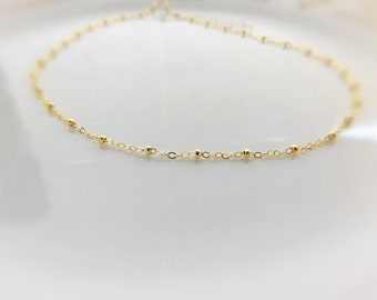 Gold Anklet for Women- 14k Gold Filled - Satellite Anklet - Gold beaded Anklet - Layering Anklets - Boho Jewelry - With Extender