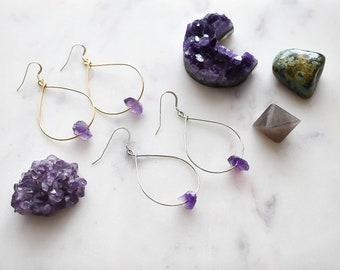 Cici Raw Amethyst Hoop Earrings