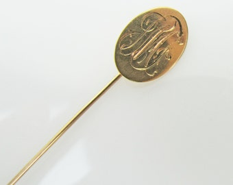 Antique Victorian Edwardian 14K Gold Stick Pin. Engraved Initial J. Mens Jewelry Wedding Accessories. Tie Stock Cravat Lapel Brooch C1900