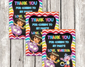 Dora Party Favors - Dora the Explorer Birthday Party - Chalkboard Favor Tags - DIY Printable