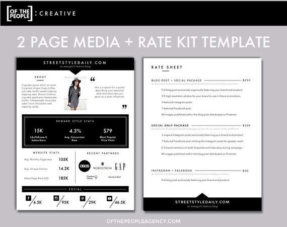Page Media Kit Template Press Kit For Bloggers