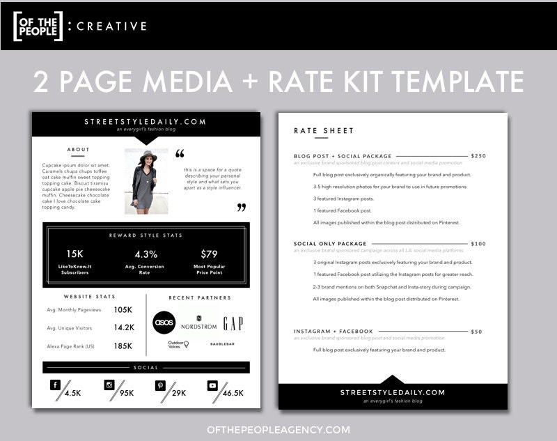2 page media kit template press kit for bloggers zoom pronofoot35fo Image collections