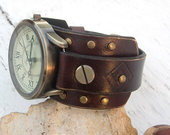 Mens Leather watch, Womens leather watch, Leather cuff watch, Leather Wrist Watch, Retro style watch for mens, womens