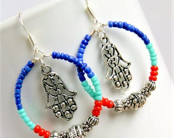 hamsa earrings, boho jewelry, colorful earrings, beaded hoops,yoga jewelry, gift for her, under 25 dollars