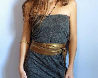 wide obi, woman, gold, adjustable tie leather belt, wrap around Pocket secret