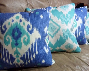 Ikat Pillow Covers -16x16 or 18x18 -  Designer Fabric -  Magnolia Home Dakota - Blue - Turquoise - Decorative accent pillow covers