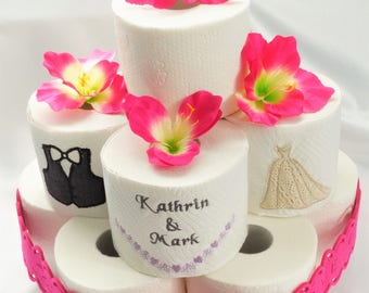 Toilet paper cake wedding cake wedding gift joke gift pink flowers Orchid gift bride and groom wedding