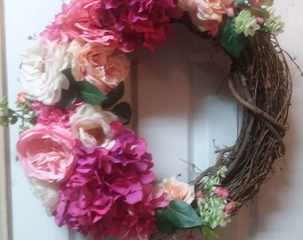 Summer Door Wreath, Spring Wreath, Pink Floral Wreath, Pink Door Wreaths, Front Door Wreaths, Door Wreath Pink, Summer Wreath, Pink Wreath
