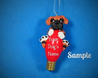 Fawn Boxer Dog black mask natural ears Christmas Holidays Light Bulb Ornament Sally's Bits of Clay PERSONALIZED FREE with dog's name
