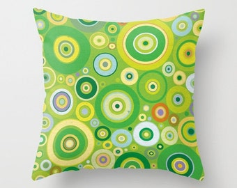 Green, blue and orange fun circles Throw Pillow case / cover for baby room, nursery, playroom.