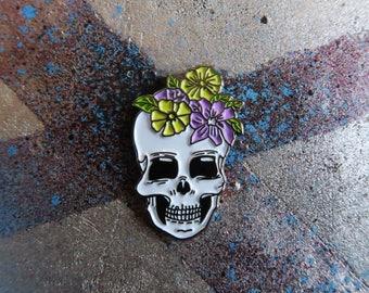 Flower Crown Skull Enamel Pin, Lapel Pin | Floral Gift for Girls Guys