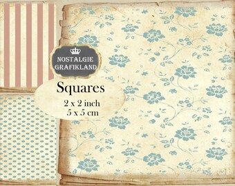 Shabby Chic Background Squares 2x2 inch squares Instant Download digital collage sheet TW157 checked dots stripes flowers