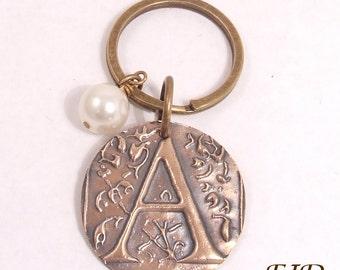 Hand-Stamped Bronze Initial Keychain