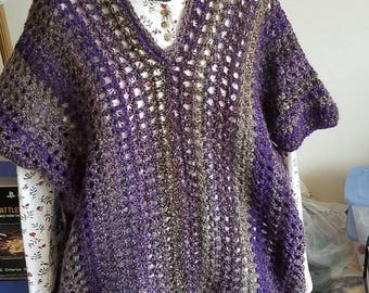 Crocheted Adult Short Sleeve Pullover Purple