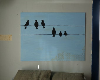 Birds on a Wire Painting on Canvas Frame
