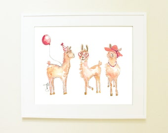 Llama Llama Llama Print/ Baby Girl Nursery Decor/ Watercolor Baby Animals