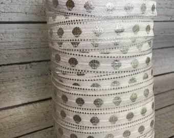 "White Seashell Fold Over Elastic - Silver Foil Seashell FOE - 5/8"" FOE - Sea Shell Elastic"