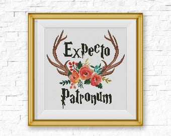 BOGO FREE! Floral Antlers Cross Stitch Pattern, Expecto Patronum Quote xStitch, Wild Deer Animal Modern, PDF Instant Download #046-1-12