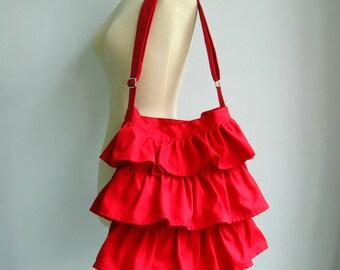 Sale - Red Cotton Twill Ruffle Bag, messenger bag, diaper bag, tote, handbag, shoulder bag, women