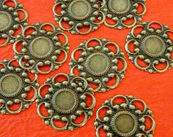 24pcs 26mm Antique Bronze Filigree Flower Wraps A60