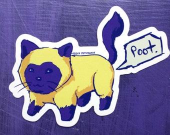 Poot Tooting Cat Vinyl Sticker