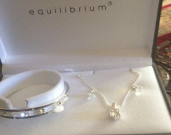 Lovely Necklace  Bracelet & Earring Set Comes In Original Presentation EQUILIBRIUM Box