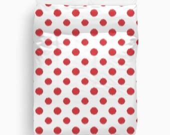 Red Bedding, Polka Dot Duvet Cover, Ikat, Girls Room Decor, Tween Girls, Dorm Room, Duvet Cover Twin, Queen, King, Gifts for Her, Christmas