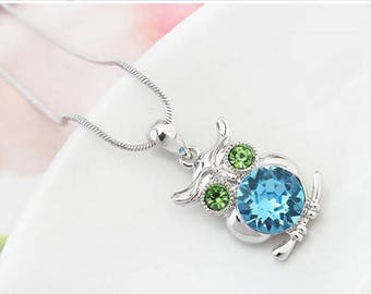 Owl Gemstone Necklace (Aquamarine)