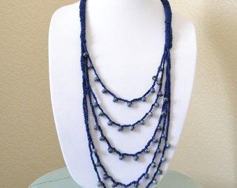 Navy blue crochet statement necklace